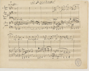 Una pagina dell'originale manoscritto di Ein Deutsches Requiem di J.Brahms